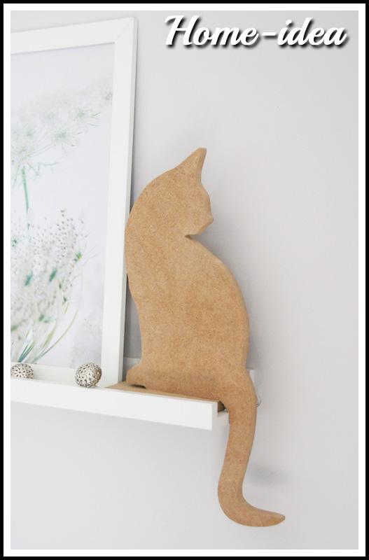 Chłodny Kot 40 cm. - wzór 2 - mdf naturalny HT68